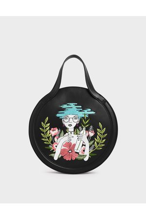 CHARLES & KEITH Women Tote Bags - By Teeteeheehee: Embroidered Round Tote Bag