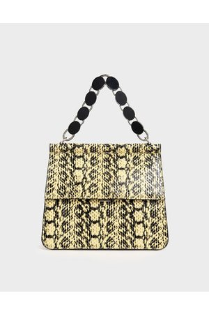 CHARLES & KEITH Snake Print Acrylic Tortoiseshell Top Handle Bag