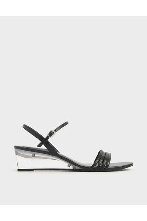 CHARLES & KEITH Ankle Strap Clear Wedges