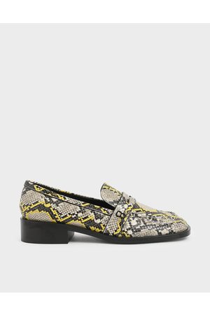 CHARLES & KEITH Snake Print Penny Loafers