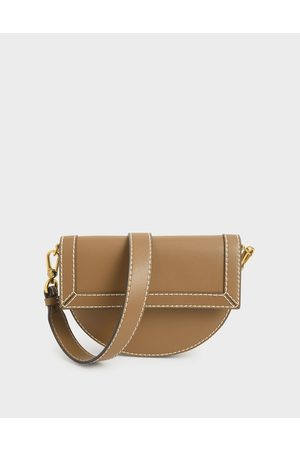 CHARLES & KEITH Front Flap Semi-Circle Crossbody Bag