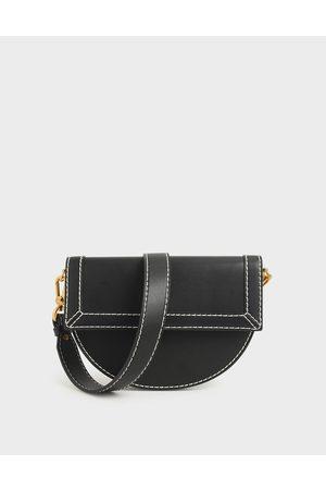 CHARLES & KEITH Front Flap Semi-Circle Crossbody Bag