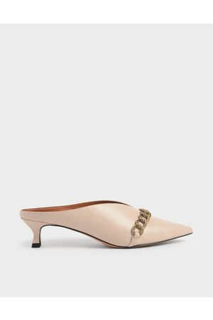 CHARLES & KEITH Mules - Chain Strap V-Cut Mules