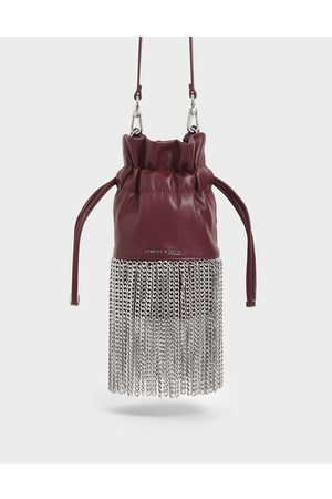 CHARLES & KEITH Women Clutches - Chain Fringe Drawstring Bucket Bag
