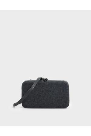 CHARLES & KEITH Women Shoulder Bags - Boxy Textured Twist Lock Crossbody Bag