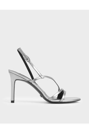 CHARLES & KEITH Mirror Metallic Leather Strappy Heeled Sandals
