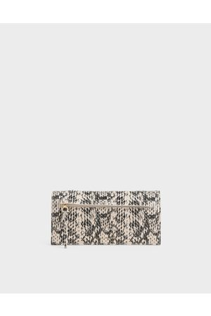 CHARLES & KEITH Mini Snake Print Front Zip Long Wallet
