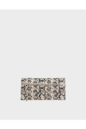 CHARLES & KEITH Mini Snake Print Front Zip Long Wallet