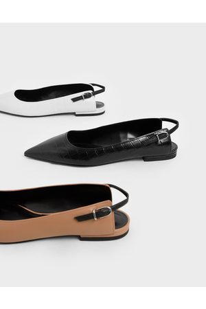 CHARLES & KEITH Croc-Effect Leather Ballerina Flats