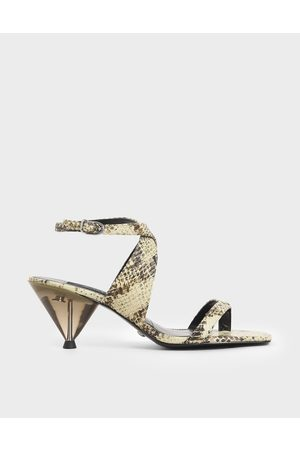 CHARLES & KEITH Leather Snake Print Cone Heel Sandals