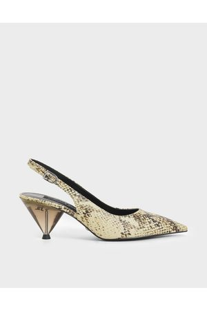 CHARLES & KEITH Women Pumps - Leather Snake Print Cone Heel Pumps