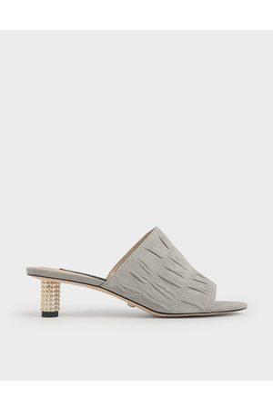 CHARLES & KEITH Embellished Heel Ruched Mules (Kid Suede)