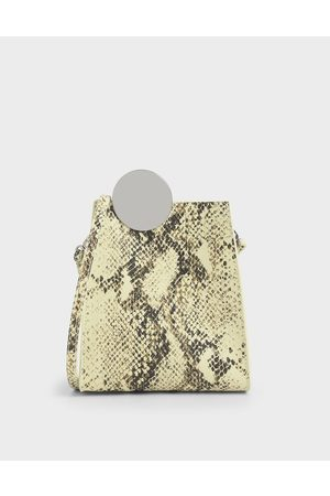 CHARLES & KEITH Chrome Detail Snake Print Leather Crossbody Bag