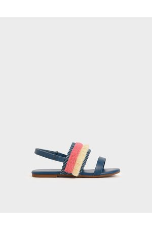 CHARLES & KEITH Girls' Woven & Frill Strap Slingback Flats