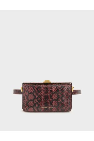 CHARLES & KEITH Snake Print Rectangular Belt Bag
