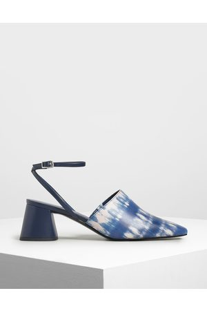 CHARLES & KEITH Closed Toe Block Heel Printed Sandals