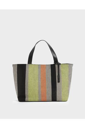 CHARLES & KEITH Women Tote Bags - Large Striped Jacquard Tote Bag