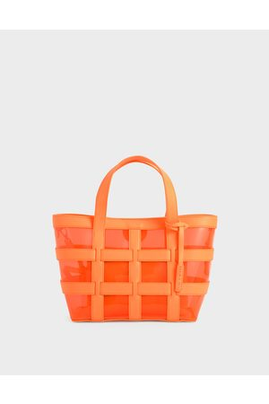 CHARLES & KEITH Women Tote Bags - Caged See-Through Tote Bag