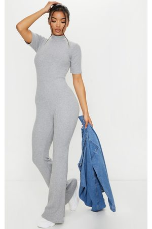 PRETTYLITTLETHING Grey Brushed Rib High Neck Flared Jumpsuit