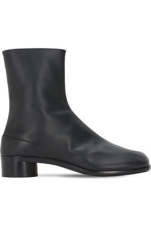Maison Margiela Men Ankle Boots - 30mm Tabi Leather Ankle Boots