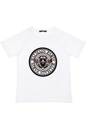 Balmain Girls T-shirts - Flocked Logo Cotton Jersey T-shirt