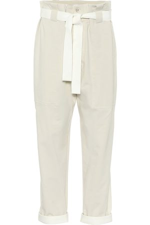 Brunello Cucinelli Women Stretch Pants - Stretch-cotton paperbag pants
