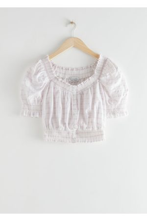 & OTHER STORIES Women Crop Tops - Smocked Puff Sleeve Crop Top
