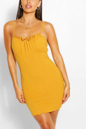 Boohoo Womens Petite Rib Square Neck Bodycon Dress - - 2