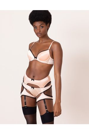 Agent Provocateur Felinda Suspender In Nude Silk Satin With Lace