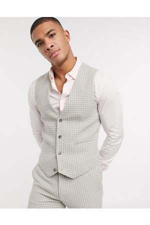 ASOS DESIGN Waistcoats - Wedding super skinny suit suit vest in neutral wool blend houndstooth-Stone