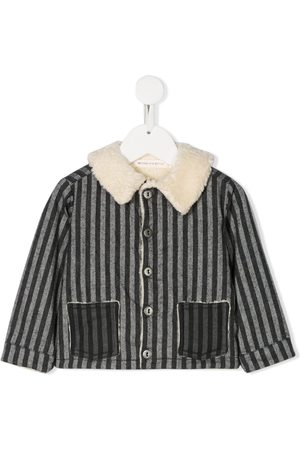 MESSAGE IN THE BOTTLE Contrast collar striped jacket - Grey