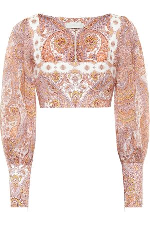 ZIMMERMANN Exclusive to Mytheresa – Paisley ramie and linen cropped blouse