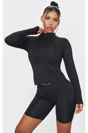 PRETTYLITTLETHING Marl Fleece Lined Long Sleeve Gym Top