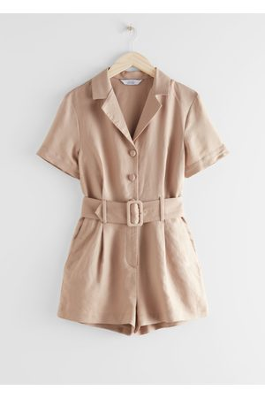 & OTHER STORIES Belted Linen-Blend Romper