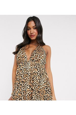 ASOS ASOS DESIGN recycled maternity halter neck floaty tankini top in animal leopard print-Multi