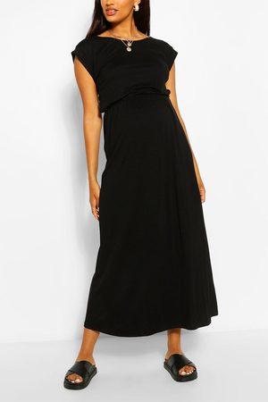 Boohoo Womens Maternity Cap Sleeve Shirred Waist Maxi Dress - - 4
