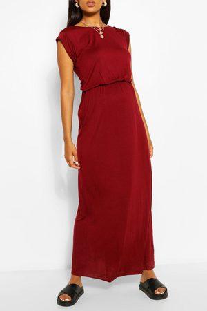 Boohoo Womens Maternity Cap Sleeve Shirred Waist Maxi Dress - 4