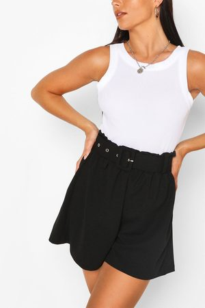 Boohoo Womens Tailored Paper Bag Belted Shorts - - 2