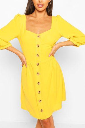 Boohoo Womens Linen Button Detail Square Neck Skater Dress - - 4