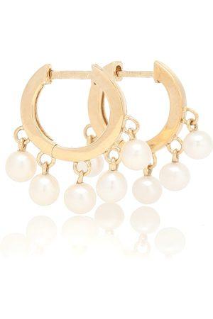 Sydney Evan 14kt hoop earrings with pearls