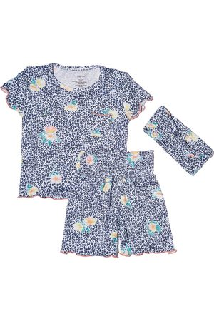 Everly by Baby Grey Infant Girl's Bella Fitted Two-Piece Short Pajamas & Head Wrap Set