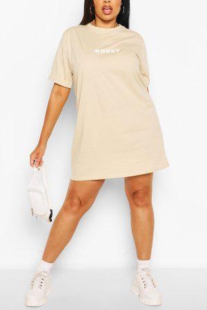 Boohoo Womens Plus Honey Oversized T-Shirt Dress - - 12