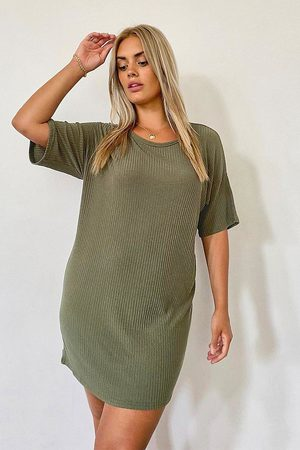 Boohoo Womens Plus Basic Soft Rib Oversized T-Shirt Dress - - 14