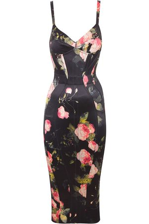 Agent Provocateur Elora Dress In Stretch Silk With Sensual Florals