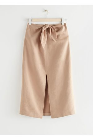 & OTHER STORIES Front Tie Linen Blend Midi Skirt