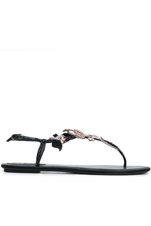 RENÉ CAOVILLA Flower embellished T-bar sandals