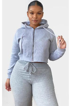PRETTYLITTLETHING Plus Grey Crop Zip Hoodie