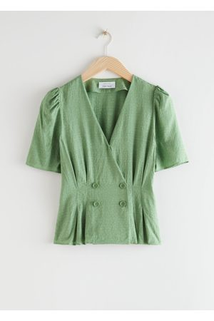 & OTHER STORIES Double Breasted Puff Sleeve Blouse