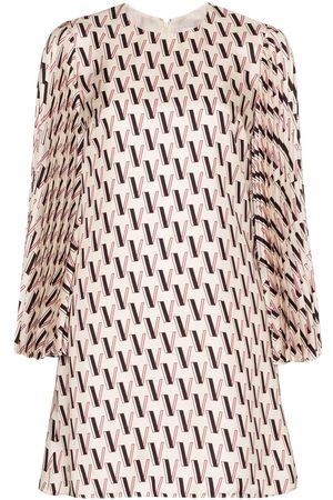 VALENTINO Monogram-print silk-satin mini dress - Neutrals