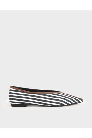 CHARLES & KEITH Jacquard Striped V-Cut Ballerina Flats